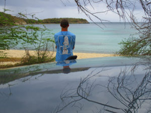 Rusty looks over the water in St John