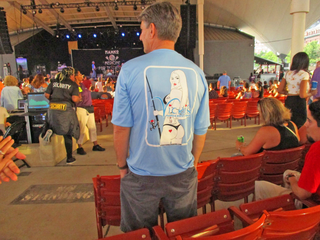 Larry chillin' at Pier 6 Baltimore, Good Vibes Summer Tour with Vicki's T&B Stand's SPF fishing shirt