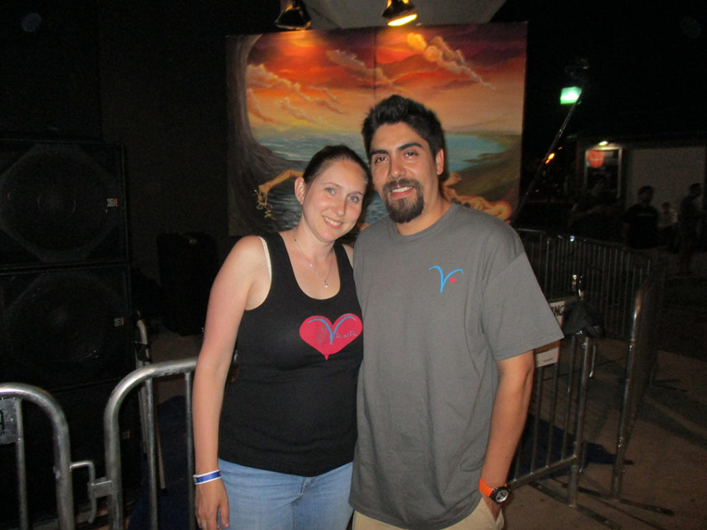 Two great Vicki's fans, also a great couple hanging at a reggae concert with their Vicki's shirts