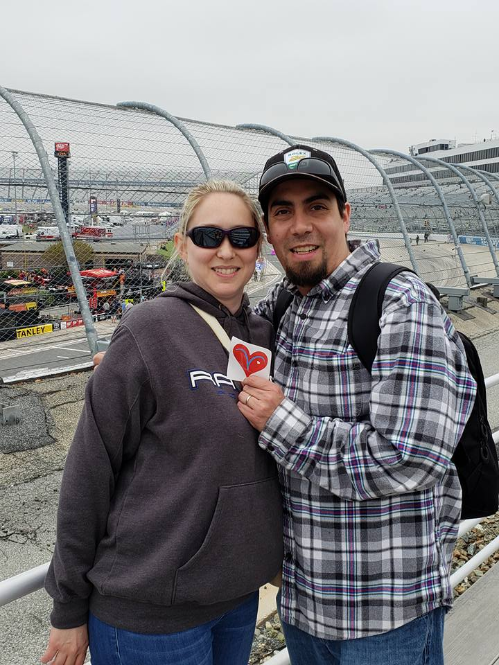 The Martins showing off their Vicki's Vheart at Dover Speedway