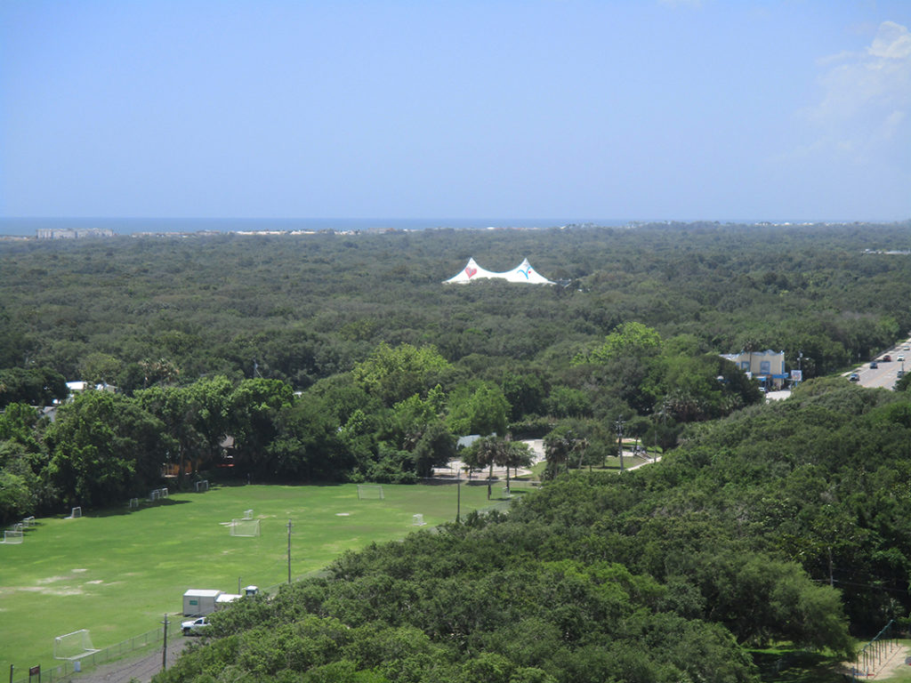 A view of the St Augustine Ampitheatre from high above in the lighthouse
